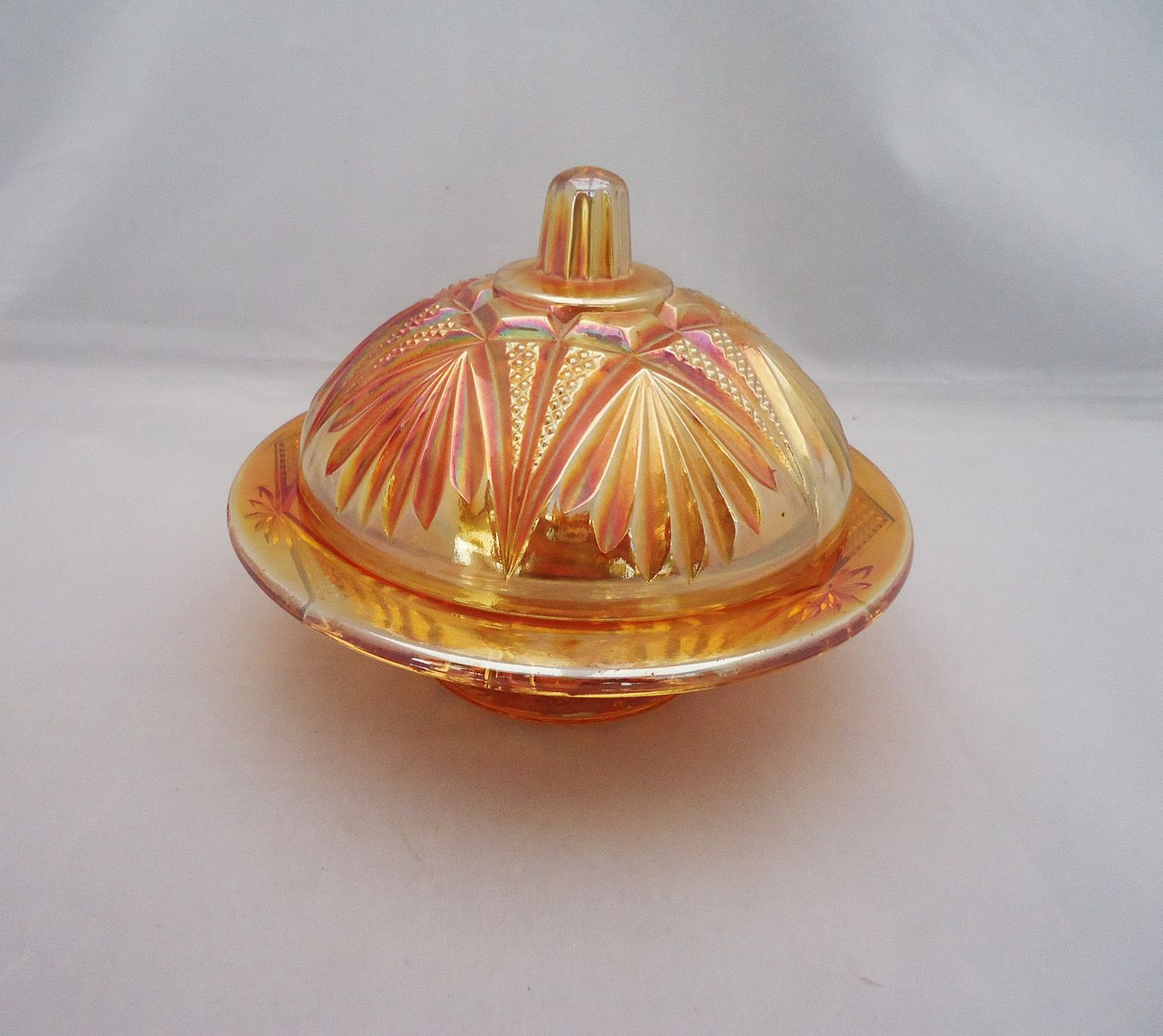 Vintage Carnival Glass Butter Dish Marigold Glass Dish By Carnival Glass Vintage Carnival Glass Dishes