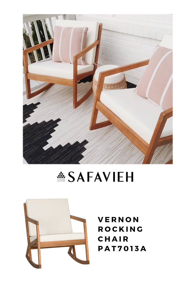 Tan Safavieh Vernon Outdoor Rocking Chair Front-Back Cushion Eco-Friendly