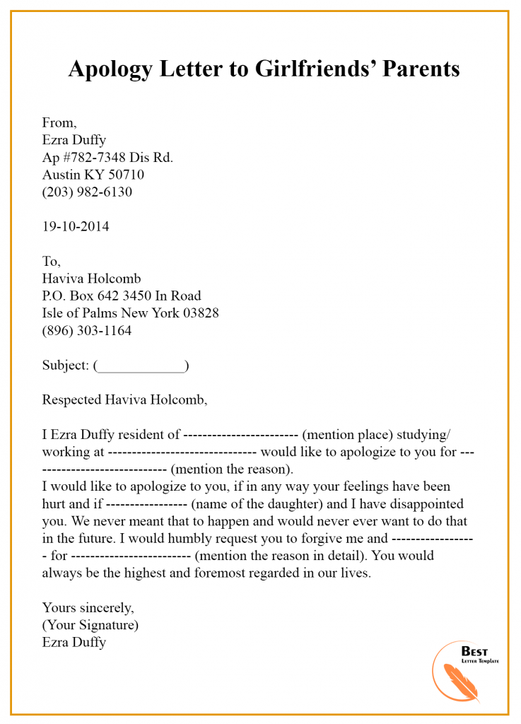 Apology Letter Template To Parents  U2013 Sample  U0026 Examples