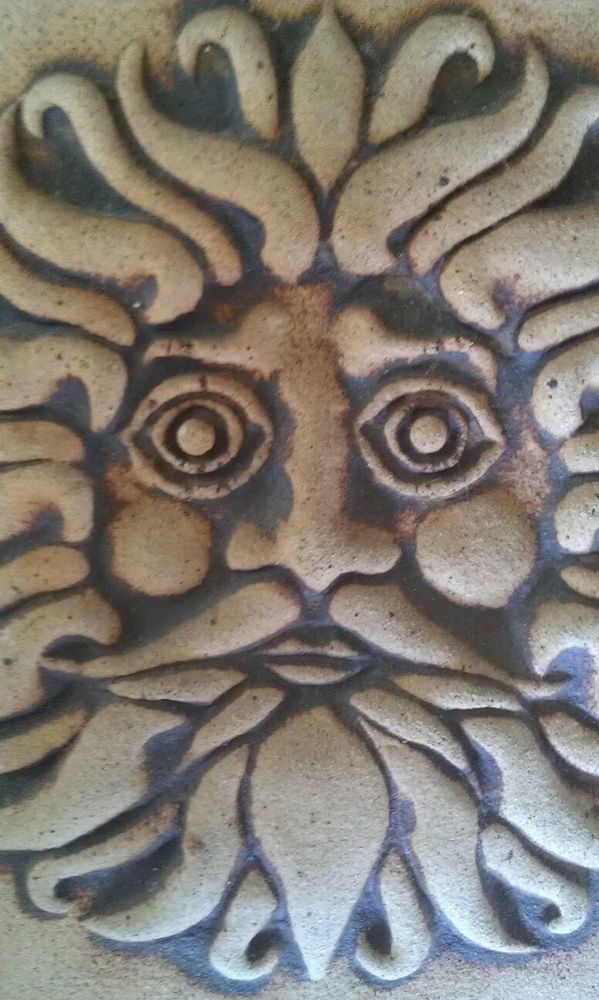 """Handcrafted Sun Clay/Pottery Art Tile"" Artist Signed Home/Garden"