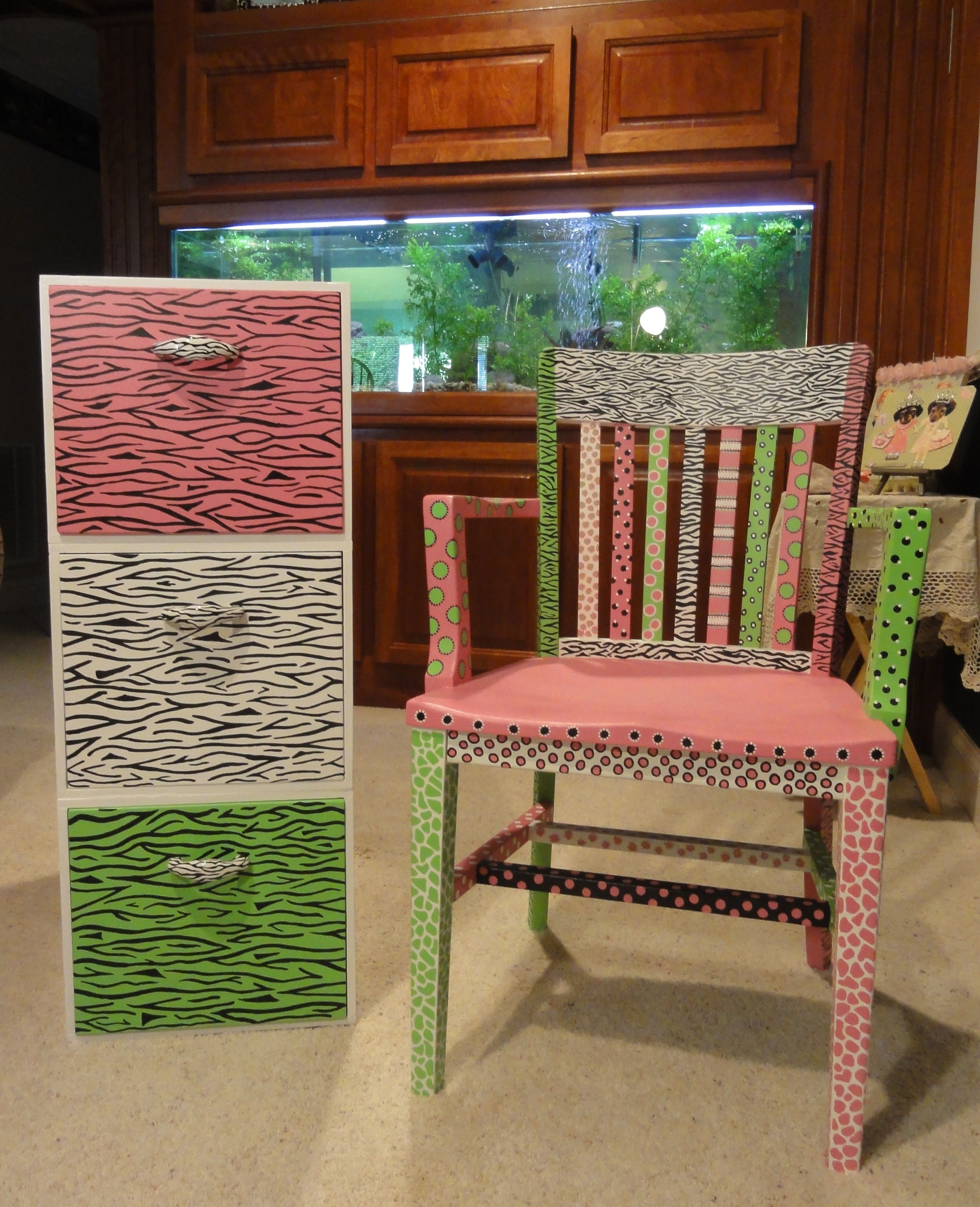 I re-painted an old wooden file cabinet and chair for my craft room