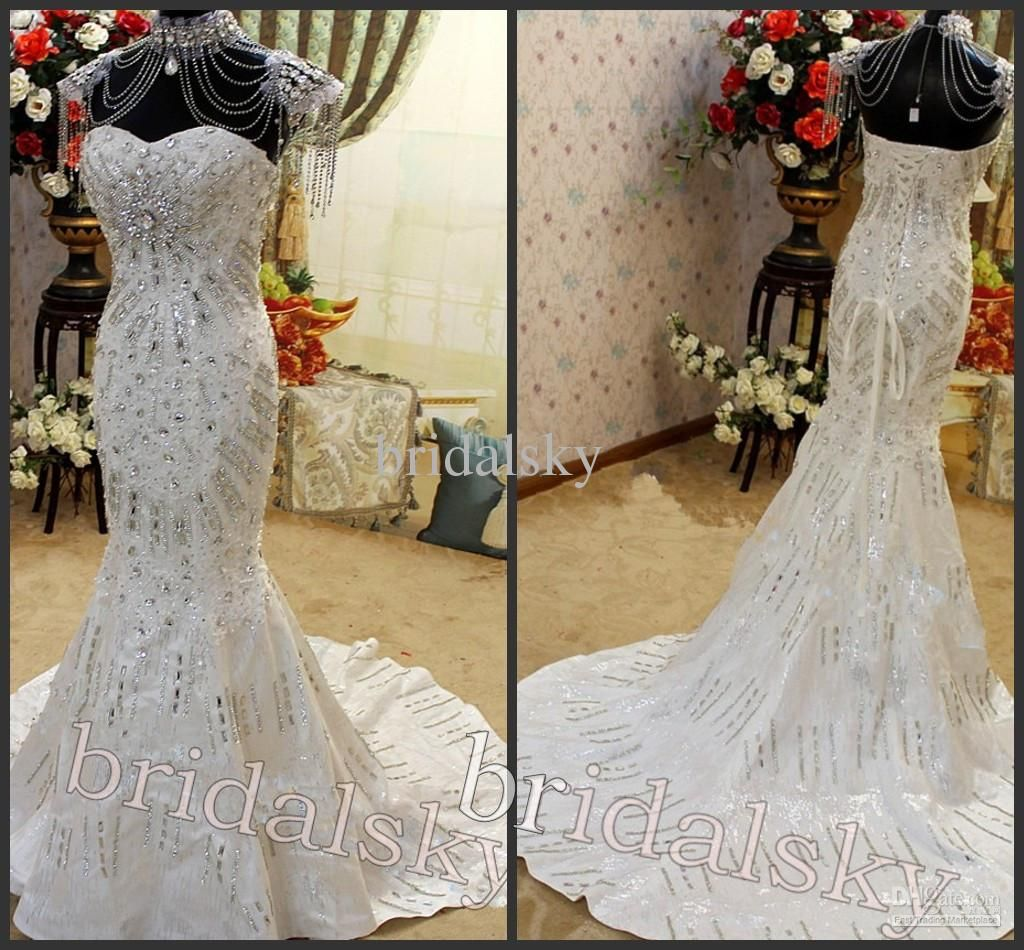 Y Wedding Dress With Necklace Swarovski Crystals Liques Sweetheart Mermaid Court Train Dresses Bridal Gowns