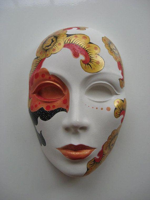 Items Similar To Porcelain Ceramic Painted Mask Ac0003 On Etsy