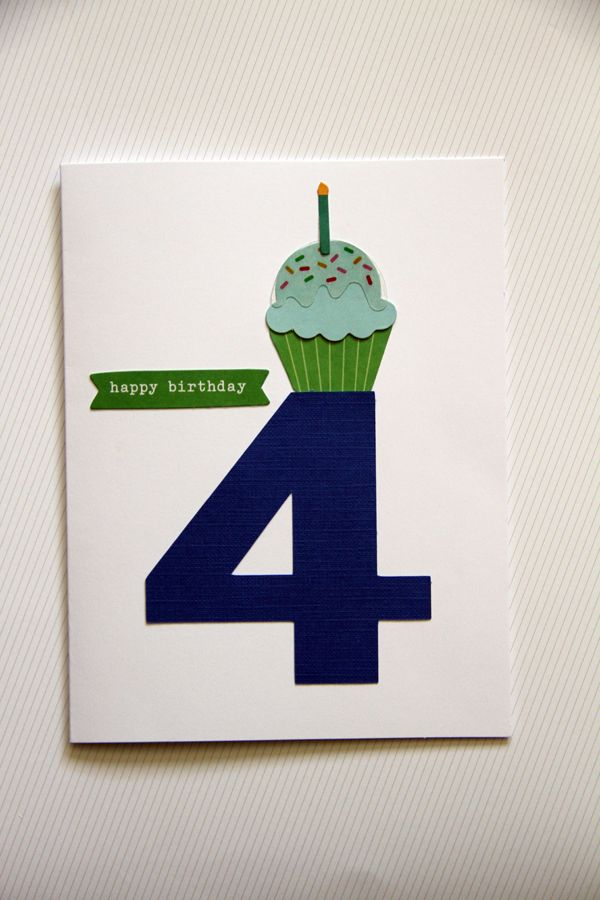 Birthday Boy Card With Large Number And Cupcake On It 4 Year Old But Could Be Any Or Converted To A Girl