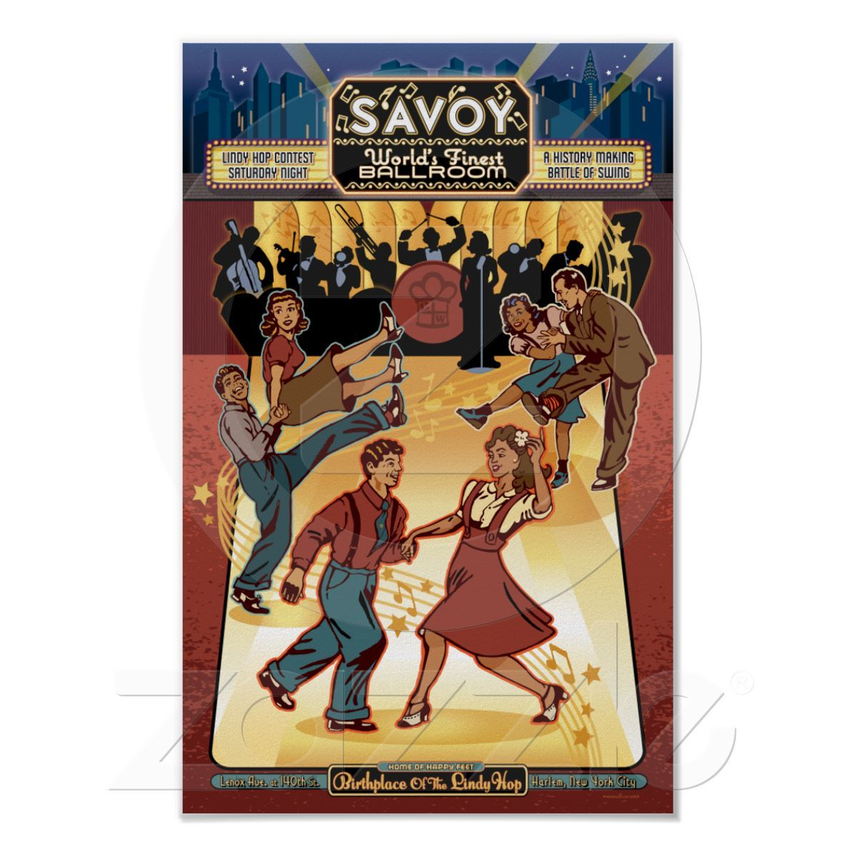This vintage advertising poster pays tribute to the fabulous historical Savoy Ballroom in Harlem, New York City.