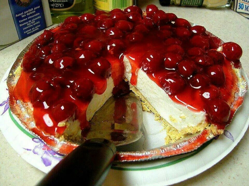 Cherry Pie 1 Can Cherry Pie Filling 1 2 Cup Butter 16 Ounces Sour Cream 8 Ounce Cherry Cheesecake Recipe No Bake Cherry Cheesecake Easy No Bake Cheesecake