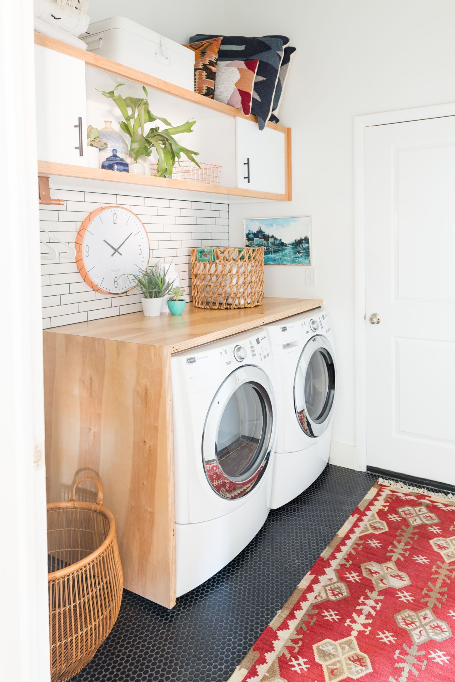 Laundry room makeover with plywood countertops vintage revivals