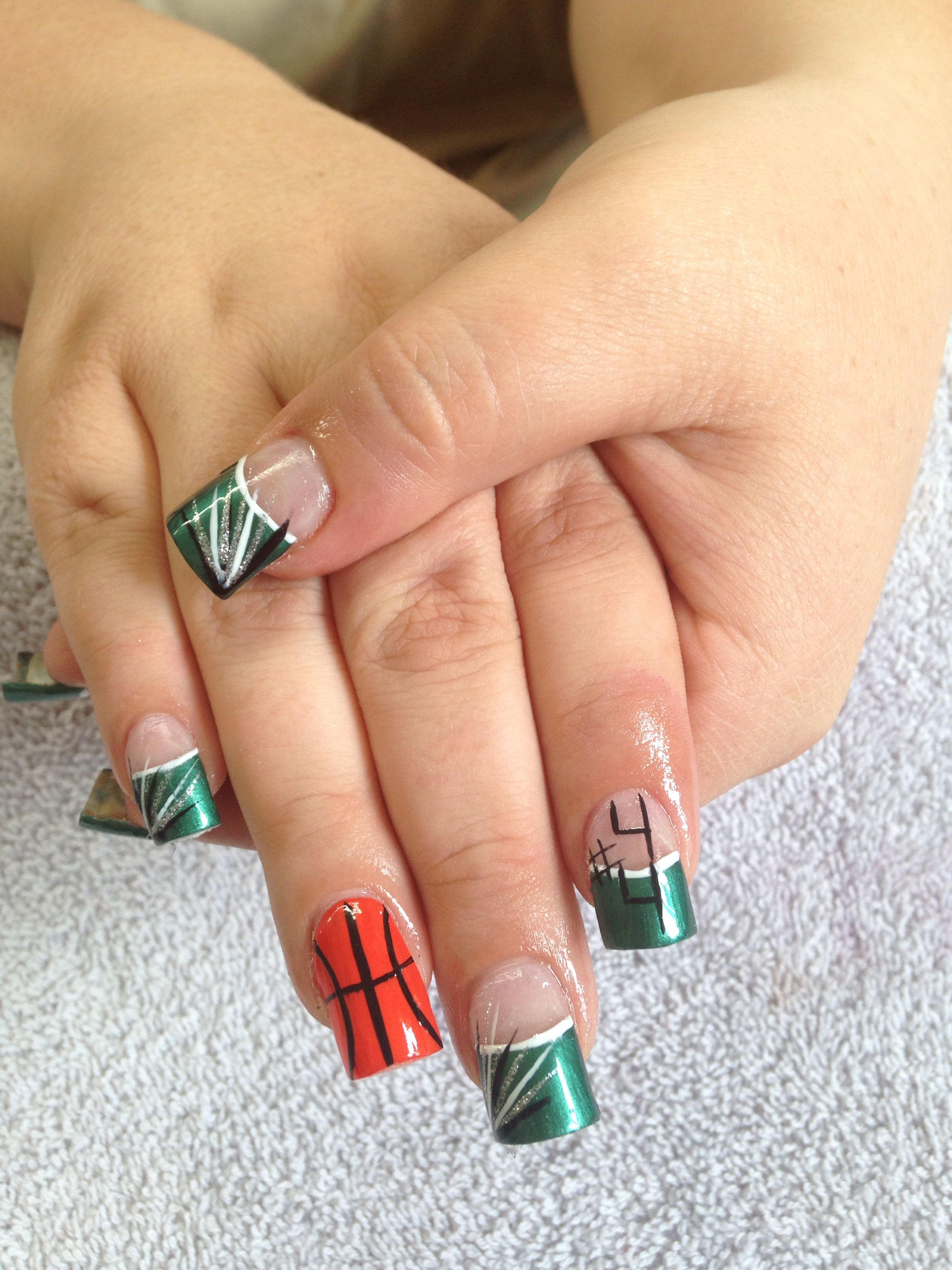 Pin By Emilee On Em S Nail Creations Basketball Nails Basketball Nail Designs Get Nails