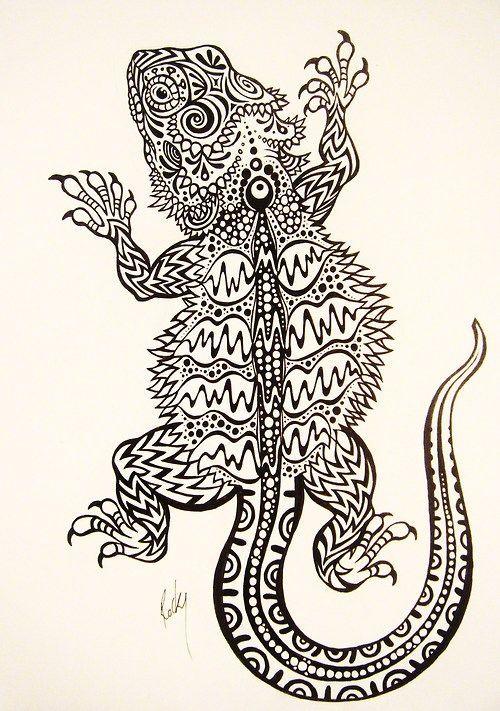 Pin De Mary Larsen En Coloring Reptile Animales Dibujados A Lapiz Dragones Mitologicos Tatuaje Animal