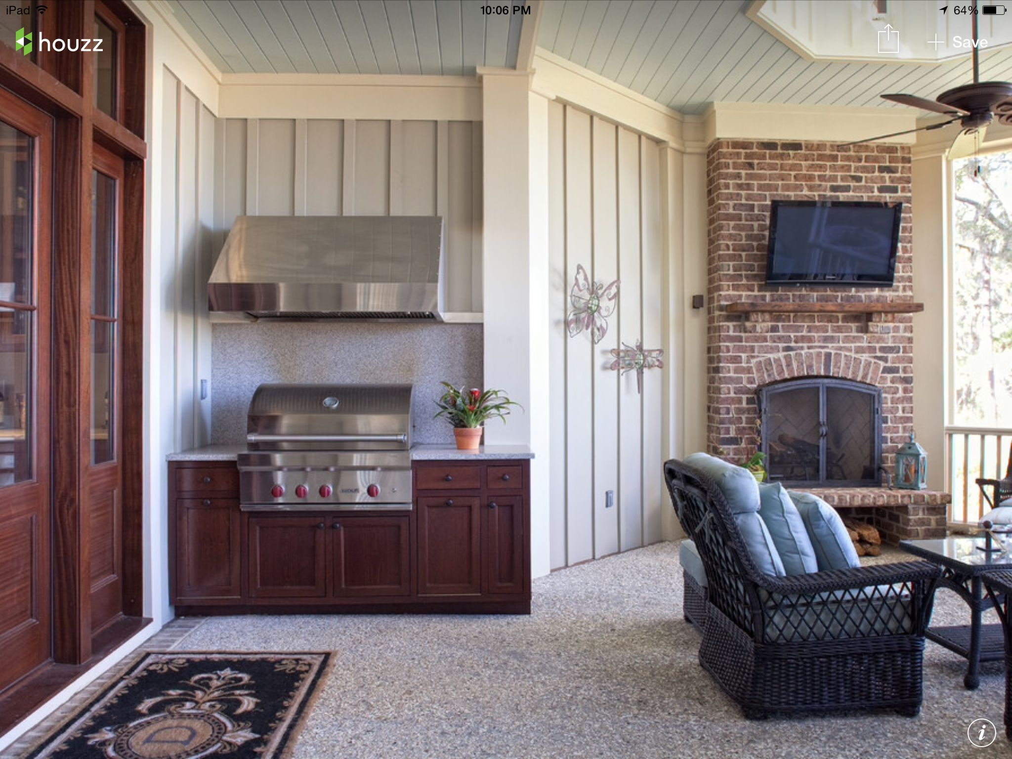 Vent Hood For Grill On Porch Corner Brick Fireplaces Architect House House Of Turquoise