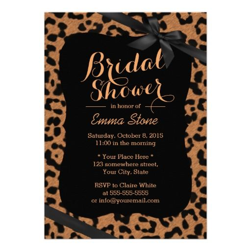 Personalized chic black ribbon leopard print bridal shower personalized chic black ribbon leopard print bridal shower invitation available at boardman printing filmwisefo Image collections