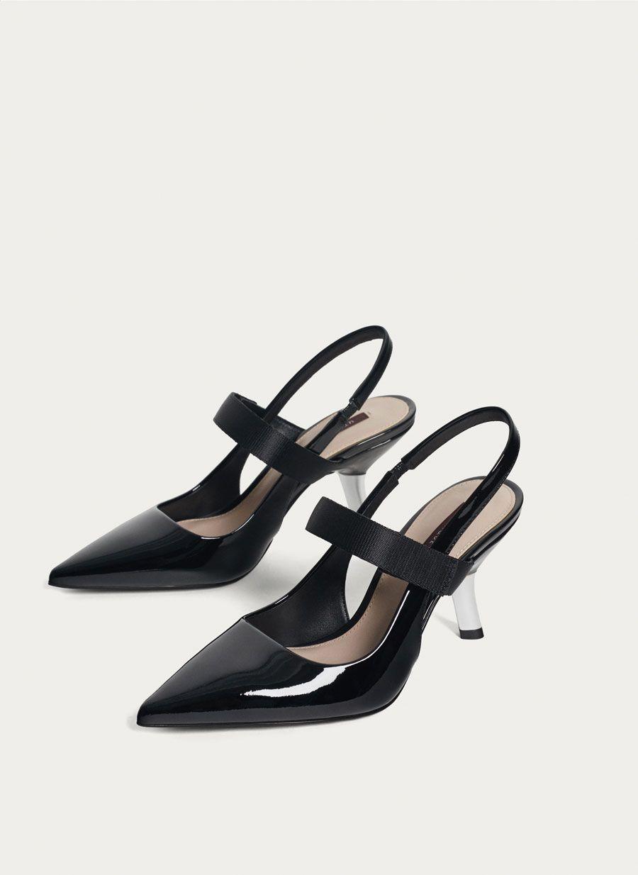 Slingbacks With Chrome Heels Uterque United Arab Emirates Heels Slingback Mid Heel Shoes