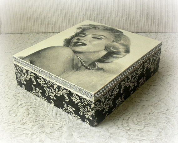 Decoupaged wooden box with stunnig Marilyn Monroe pictureperfect