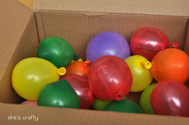 Birthday-in-a-box: Perfect for mailing because it is super light weight.  Inside are balloons, each one with a dollar inside.  You could even throw confetti in some to mix it up.  This is such a fun way to wish someone a Happy Birthday from far away.