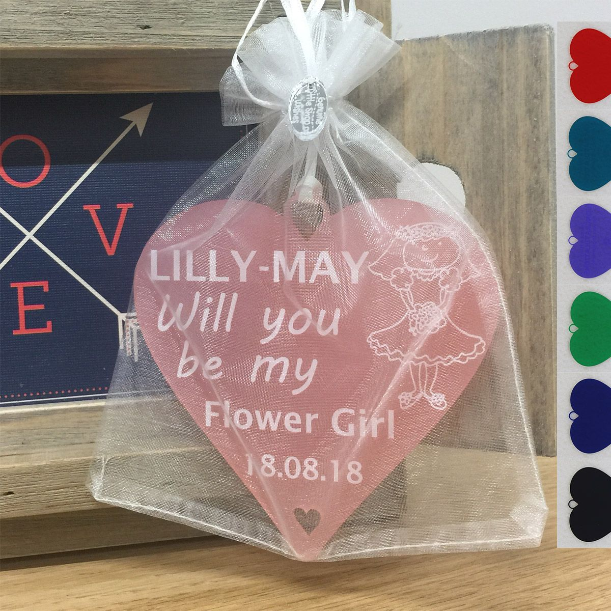 Personalised Flower Girl Gift Will you be my - Wedding Heart ...
