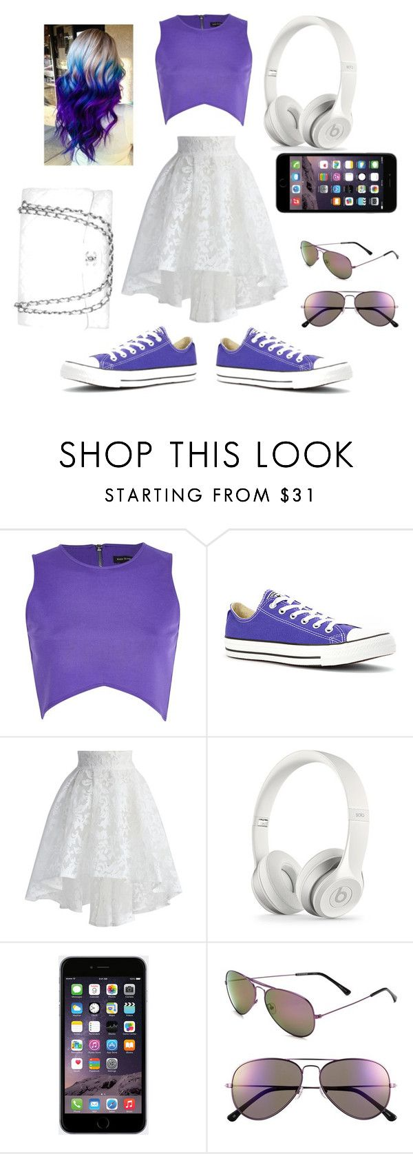 """""""Purple"""" by nosaj14 ❤ liked on Polyvore featuring River Island, Converse, Chicwish and Chanel"""