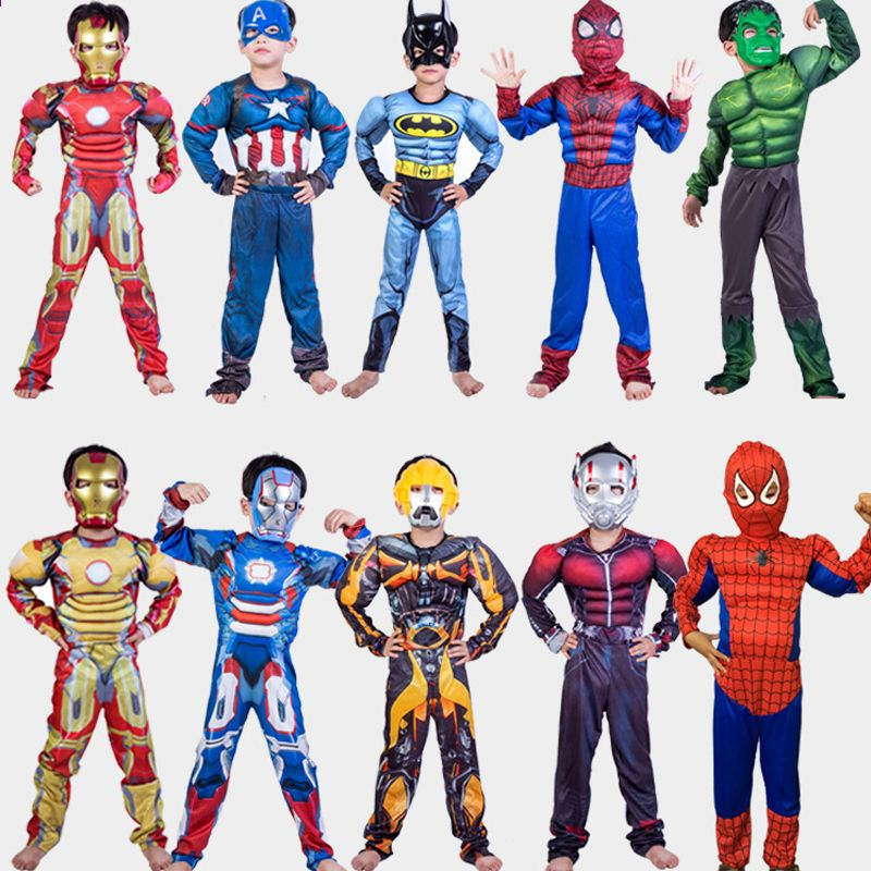 Ironman Cosplay Children Costume Superhero Kid COS Cloth Muscle Style Anime Show