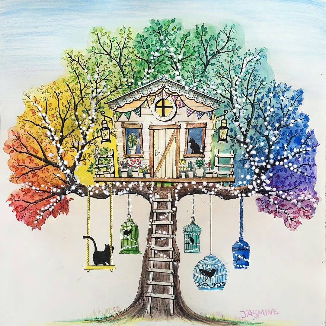 Johanna Basford - Secret Garden - tree house with swing & bird cages ...