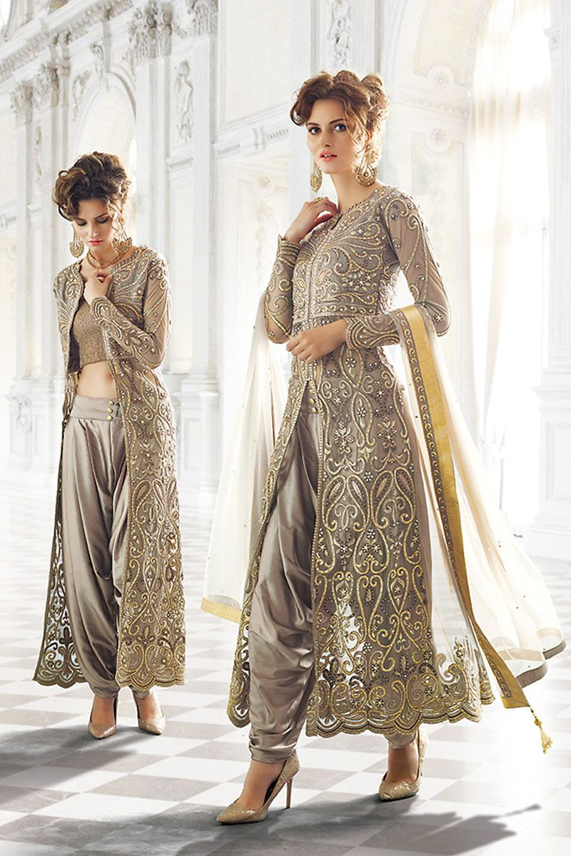 grey net wedding palazzo suit indian traditional dress