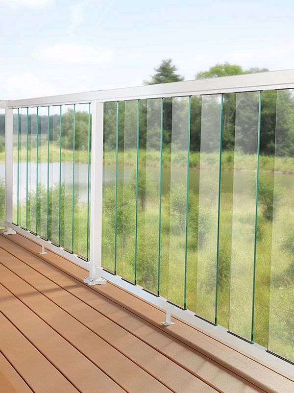 Glass Railing System Glass Balcony Glass Railing: DIY Aluminum Railing System - 6 Inch Clear Glass With White Rails.