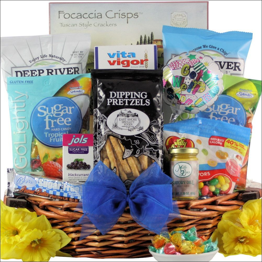Sugar free get well wishes get well gift basket products are they watching their sugar intake send them this sugar free get well wishes gift basket which will have them feeling better in no time negle Choice Image