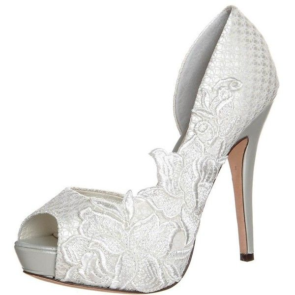 Menbur Peeptoe heels ivory ($190) ❤ liked on Polyvore featuring shoes, pumps, heels, wedding, 21. heels., white, white peep toe pumps, white platform shoes, platform stiletto pumps and white leather shoes