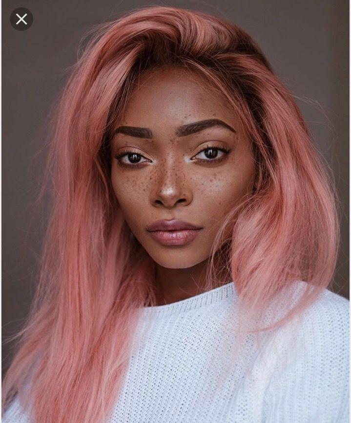 Pink Hair Brown Skin Black Girl Pink Hair Hair Color Rose Gold Cool Hair Color