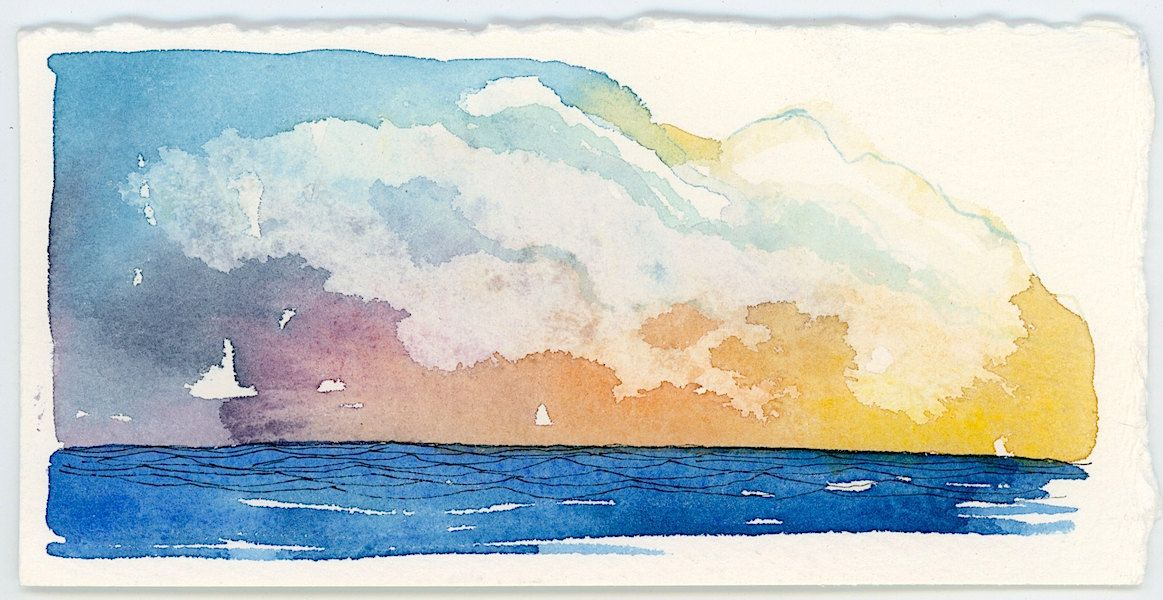 Mini Sketch Original Sunset Ocean Waves Sketch On Watercolor