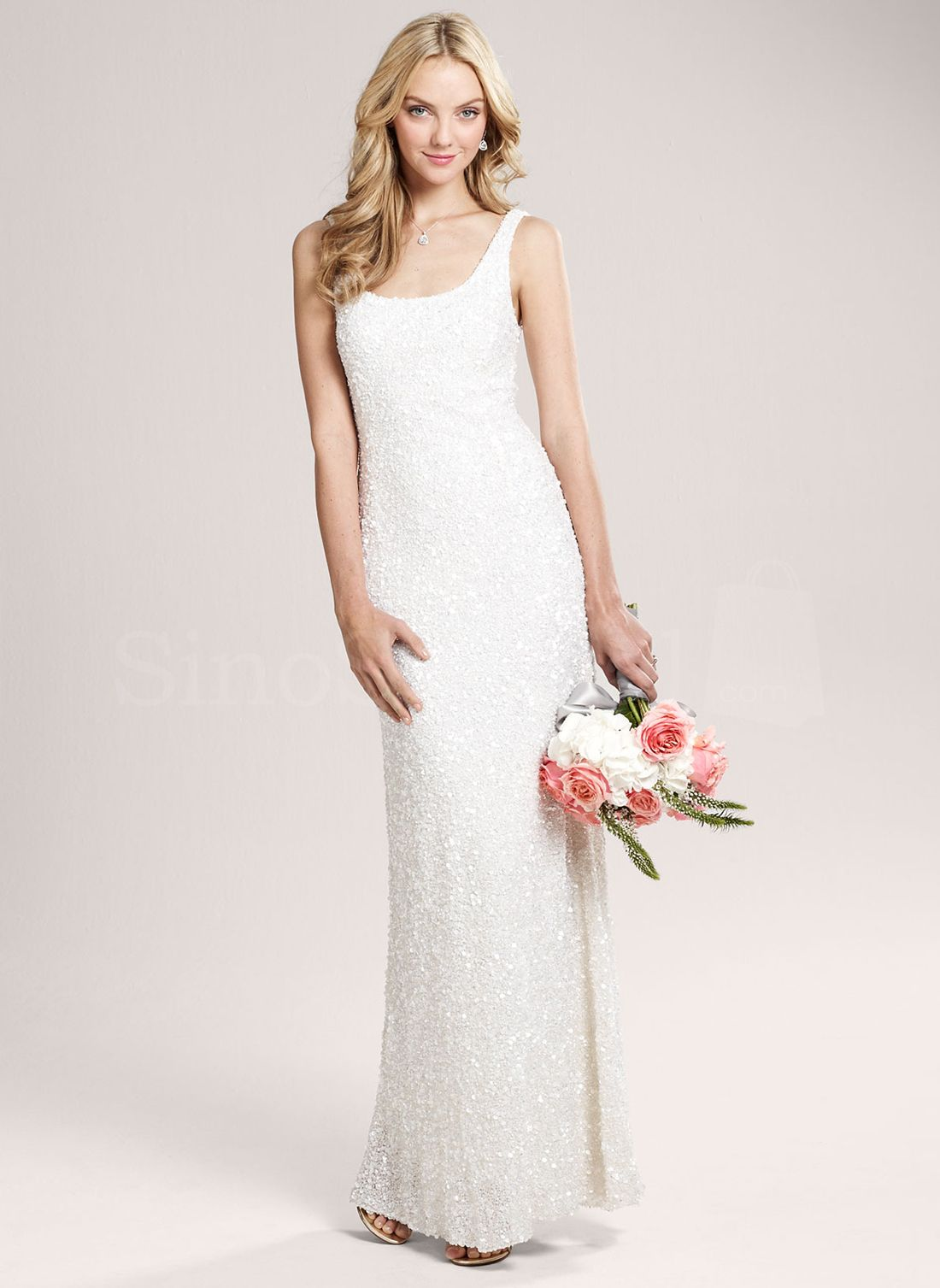 Superb ivory sheathcolumn straps neckline wedding dress elegant