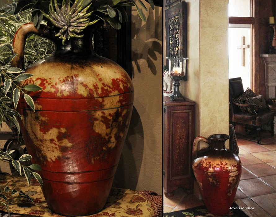 The Tuscan Decor Alfresco Red Floor Vase From Accents Of Salado
