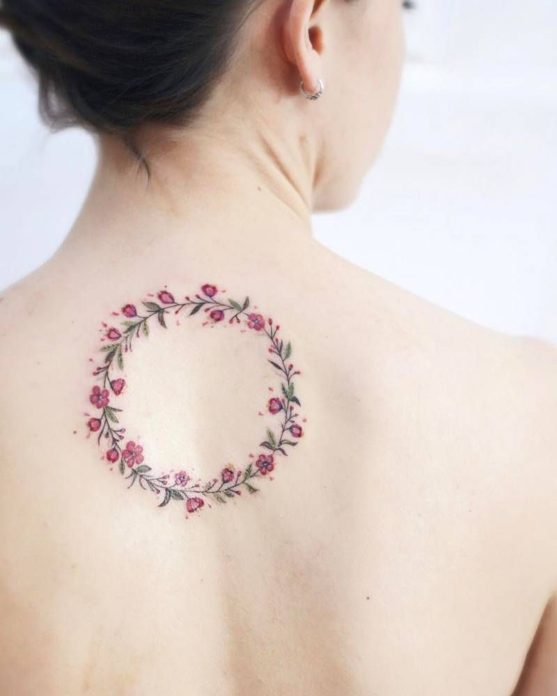 Cherry Blossom Flower Wreath Tattoo On The Upper Back Tattoo Artist Elena Fedchenko Lena Wreath Tattoo Back Tattoo Blossom Tattoo