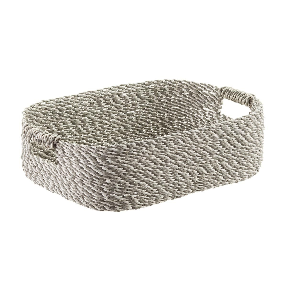 Superbe Grey U0026 White Decorative Raffia Storage Basket With Handles