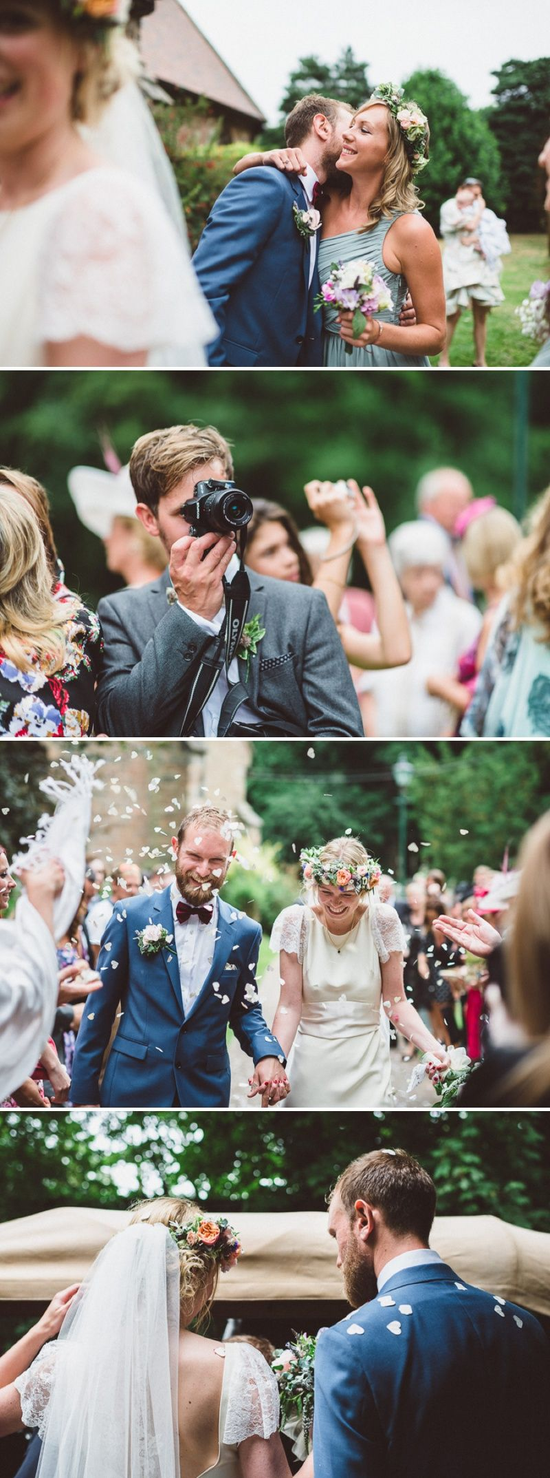 A beautiful bohemian back garden english wedding with a silk charlie