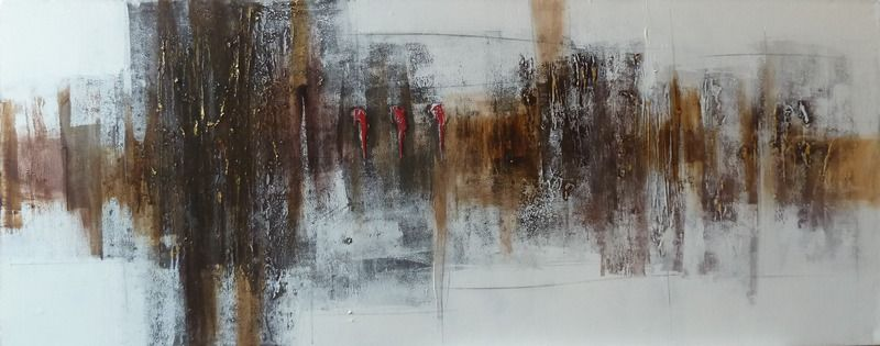 Tableau panoramique peinture abstraite moderne.
