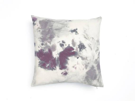Pillow cover gray tie dye printed boho