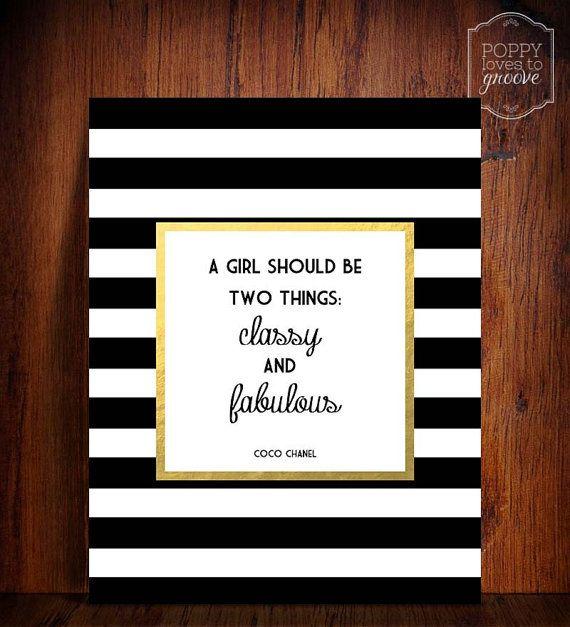 coco chanel print gold coco chanel fashion quote a girl. Black Bedroom Furniture Sets. Home Design Ideas