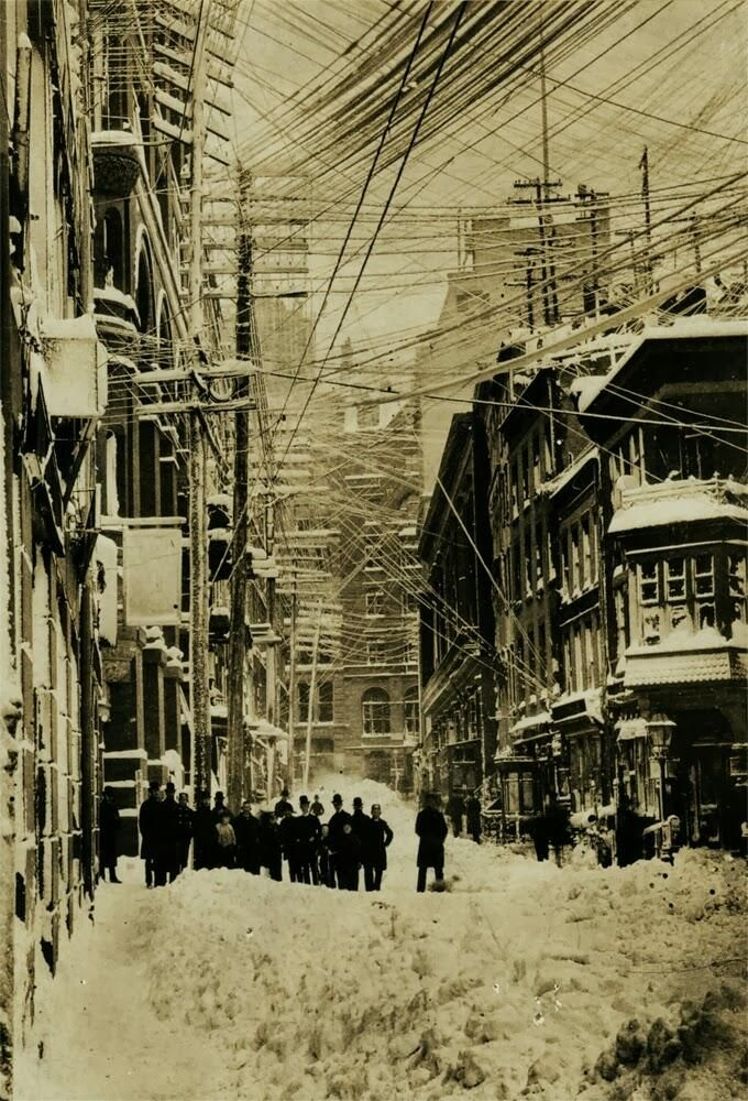 New York City After The Blizzard Of 1888 The Powerlines Always Get