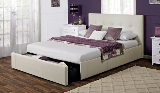 rialto white faux leather bed frame - White Leather Bed Frame