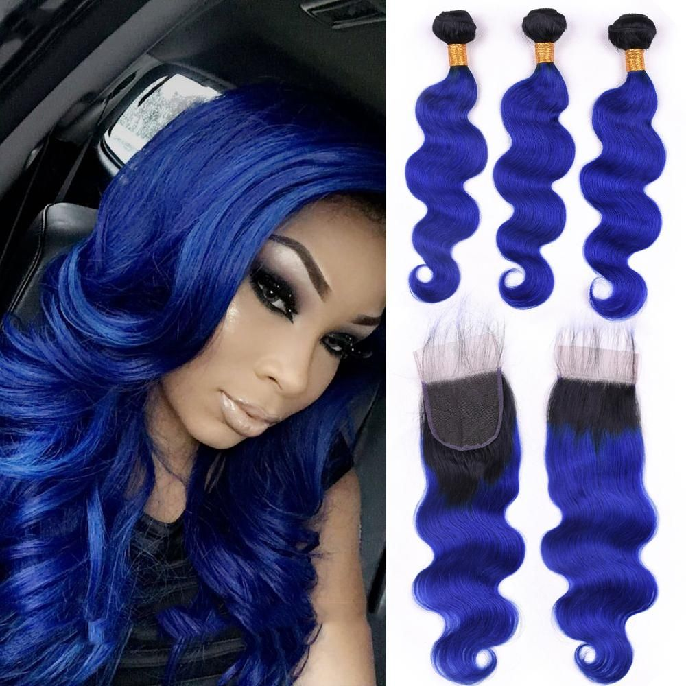 3 Blue Bundles Two Tone Dark Root Ombre Free Part Closure Front