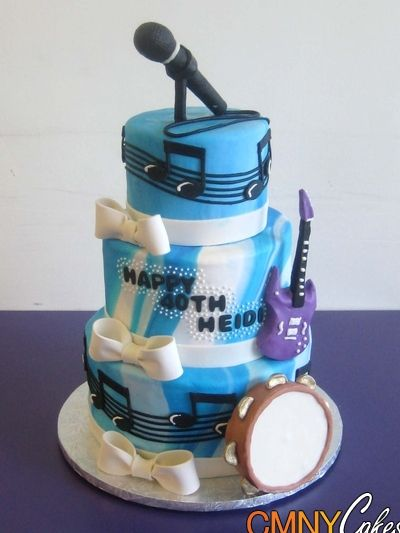 Mic and Musical Notes Birthday Cake