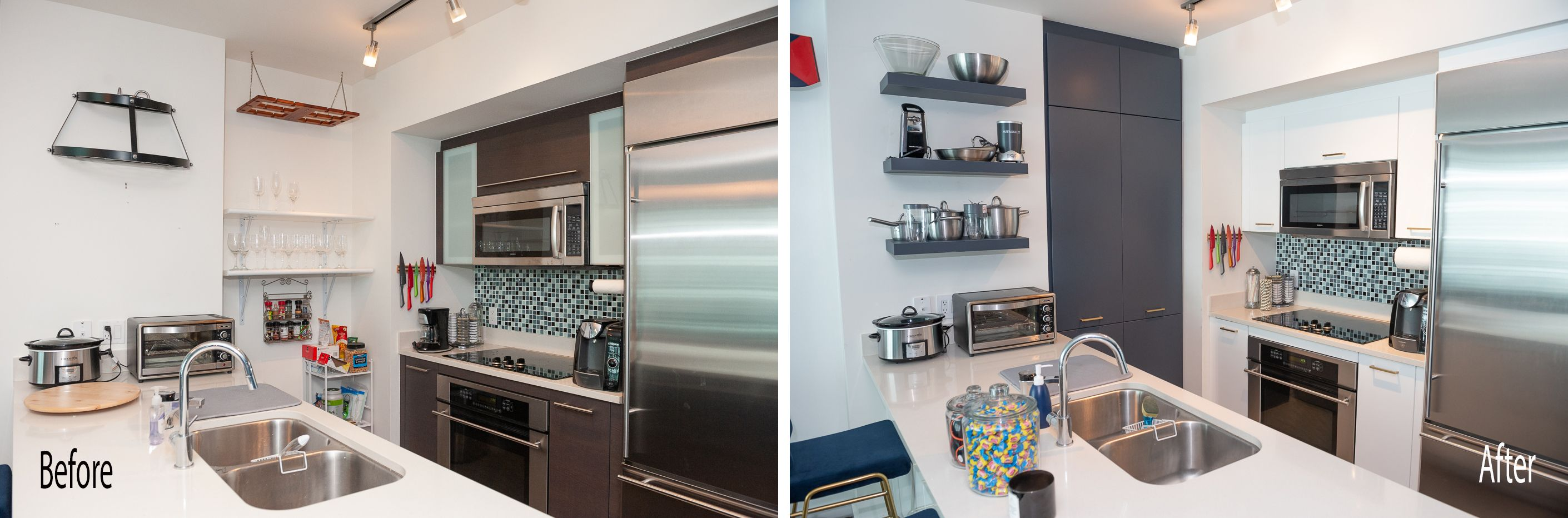Modern Kitchen Remodel Done In White Gloss And Midnight Blue Modern Kitchen Remodel Kitchen Remodel Home Kitchens
