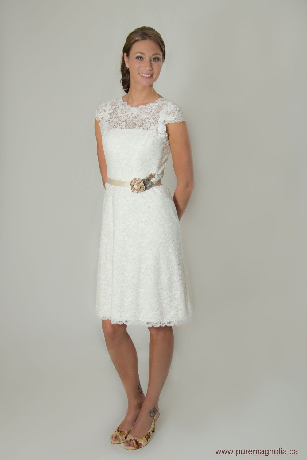Rehearsal dinner lace short wedding dress cap sleeves low for Simple cotton wedding dress