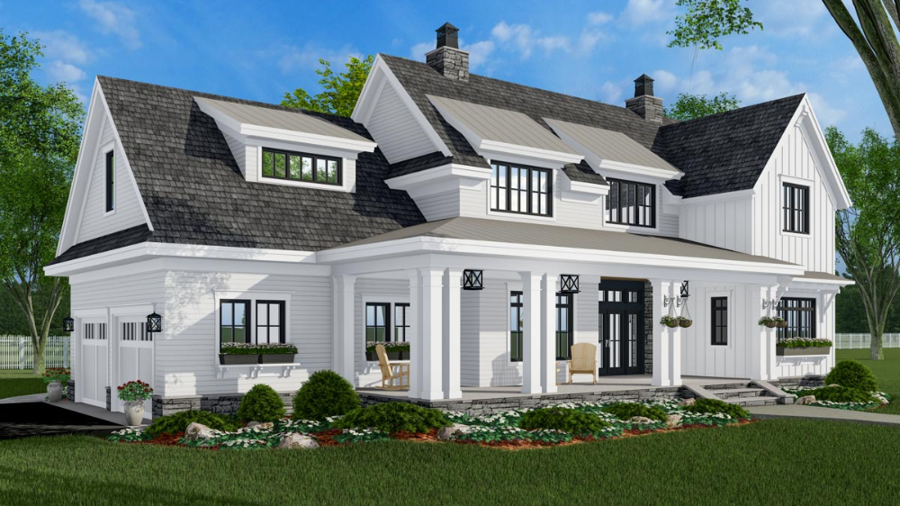 Plan 14684rk 4 Bed New American Farmhouse Plan With 2 Car Garage In 2020 Farmhouse Style House Modern Farmhouse Plans House Plans Farmhouse