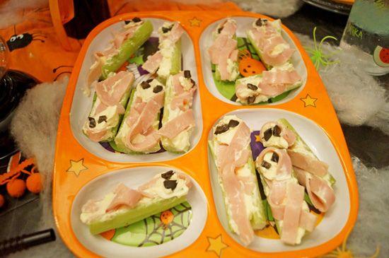 Halloween Food -- Monster Celery Sticks Food ideas and Recipes - cheap halloween food ideas