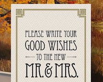 "Please Write Your Good Wishes - Printable Wedding Guest Book Sign - 8"" x 10"" - Digital File - DIY - Art Deco-Roaring 20's-Great Gatsby Sign"