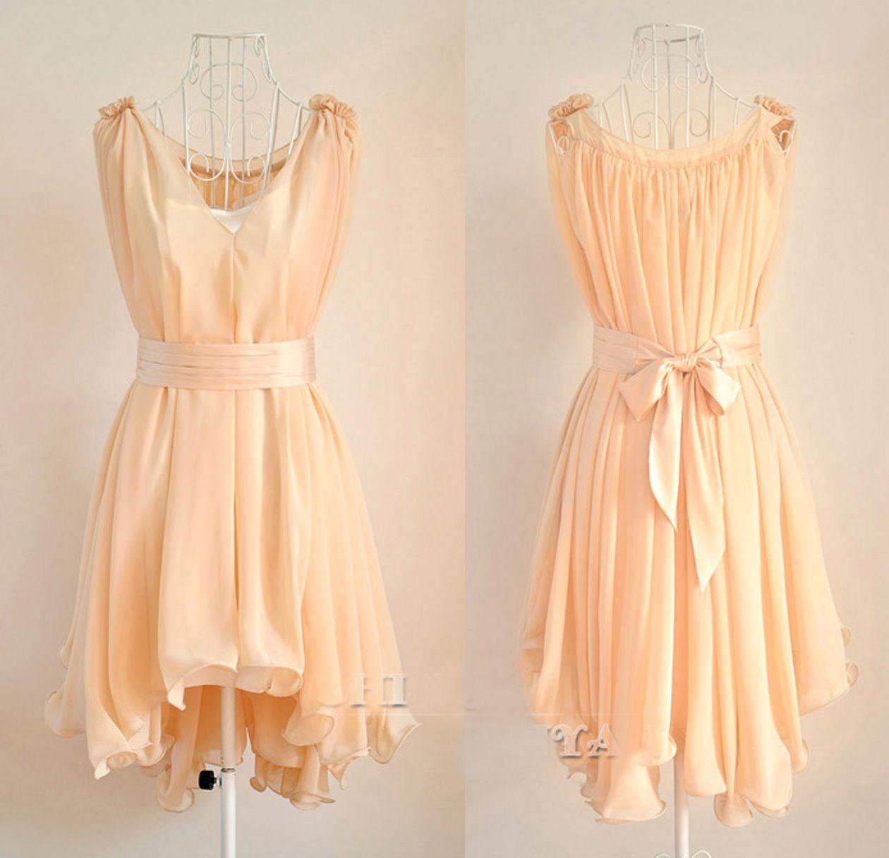 Angelic Spring Peach Chiffon Wavy Hem Sleeveless Dress