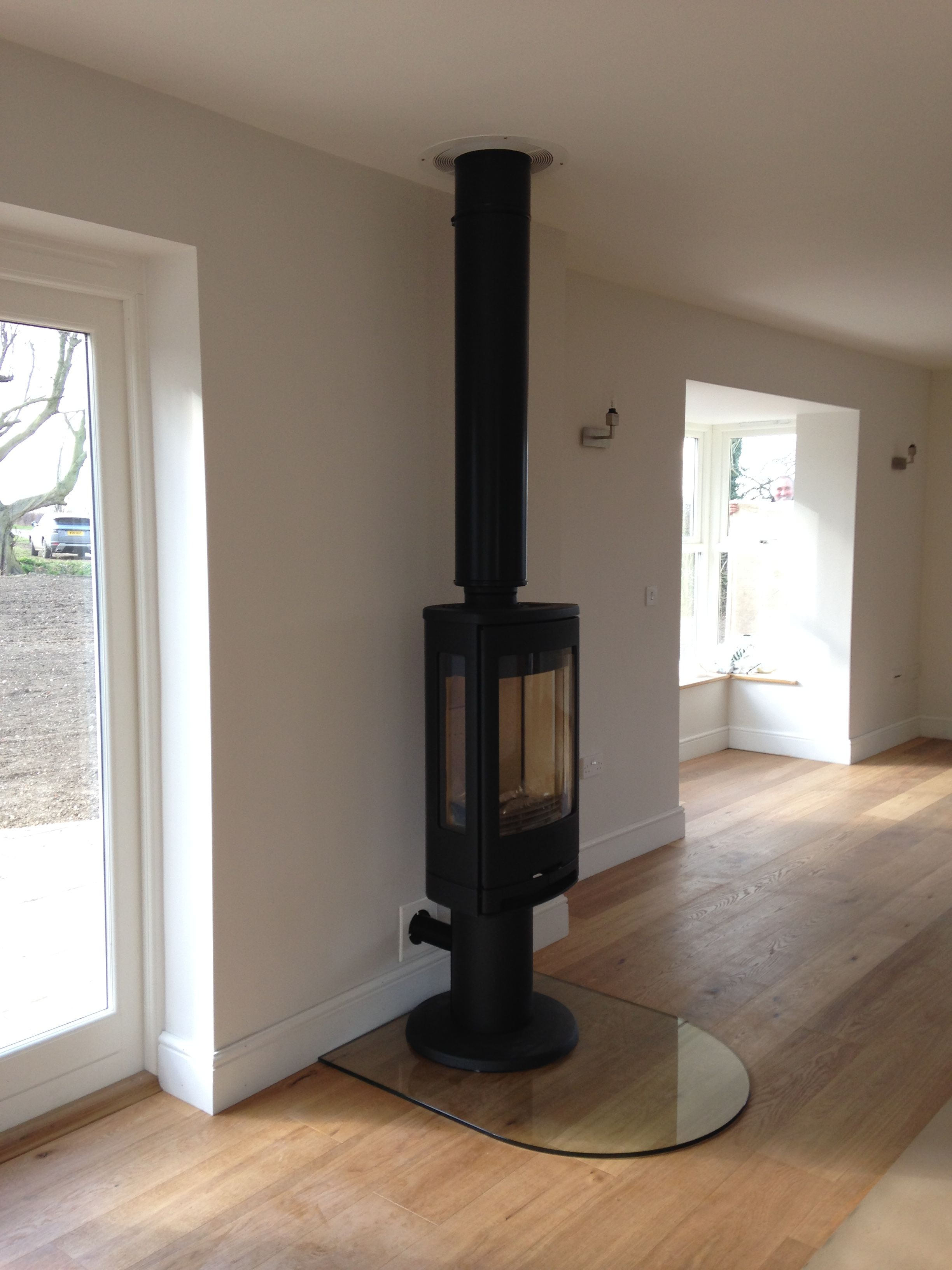 A Contura Stove On A Black Twin Wall Flue The Hearth Is D