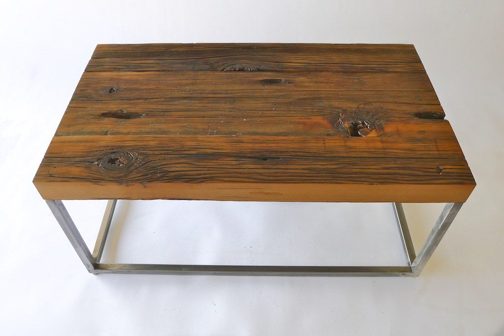Coffee table reclaimed barnwood with metal legs colton