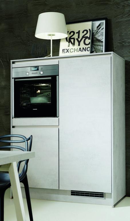 Küche Purist Designküche in Beton Grau ohne Griff Küche