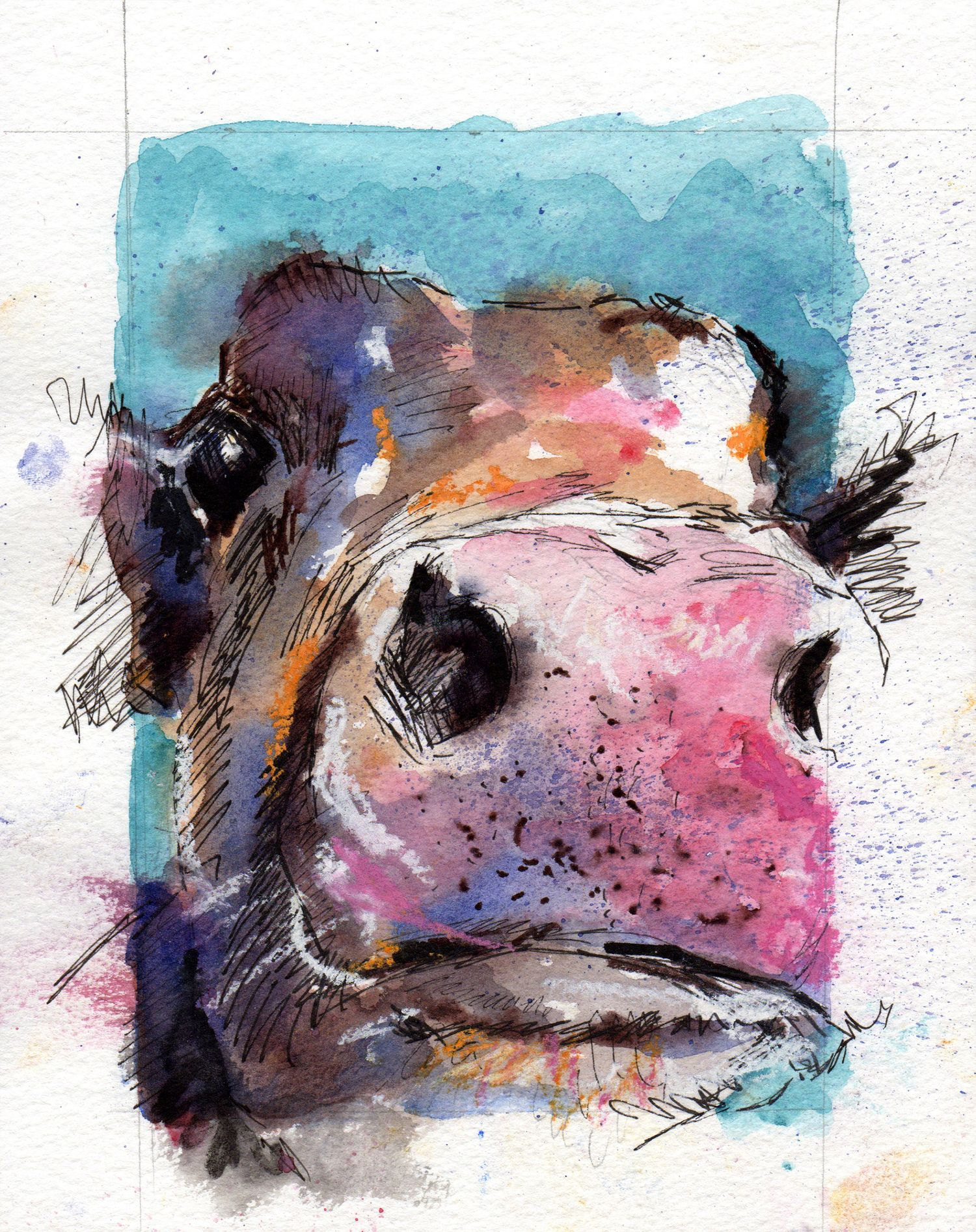 """""""The nose knows."""" Watercolour, pastel and ink. 5x7 inches"""